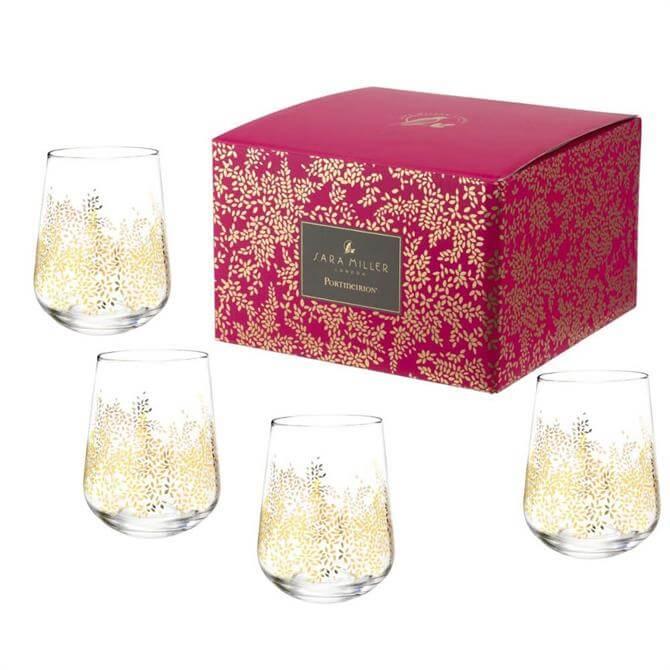 Sara Miller London Portmeirion Chelsea Leaf Set of 4 Stemless Wine Glasses
