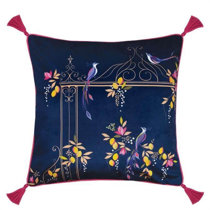 Sara Miller Bird & Gate Navy Cushion