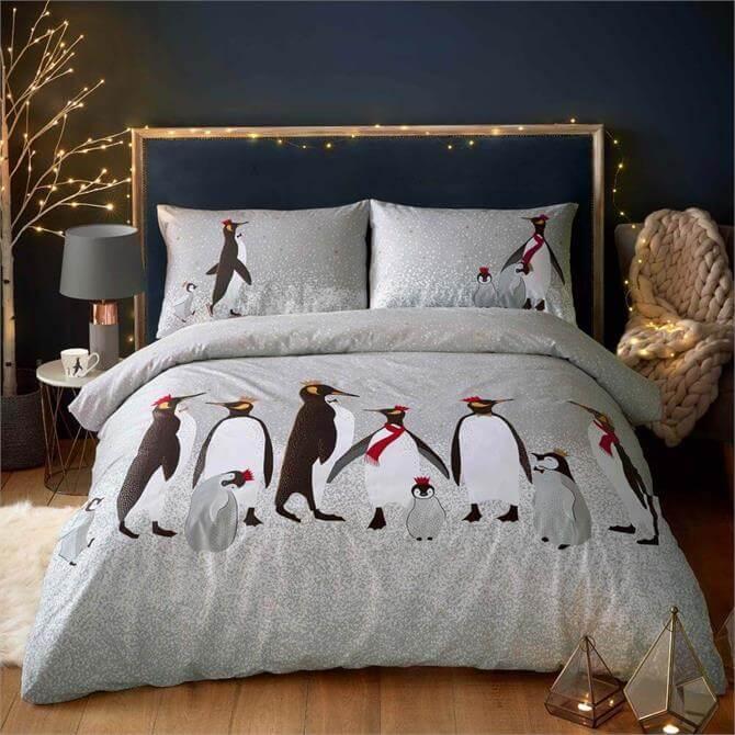 Sara Miller London Christmas Penguins Duvet Cover Set