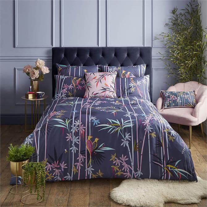 Sara Miller London Linear Bamboo Smokey Blue Duvet Cover Set