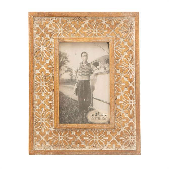 Sass & Belle Geo Floral Carved Photo Frame