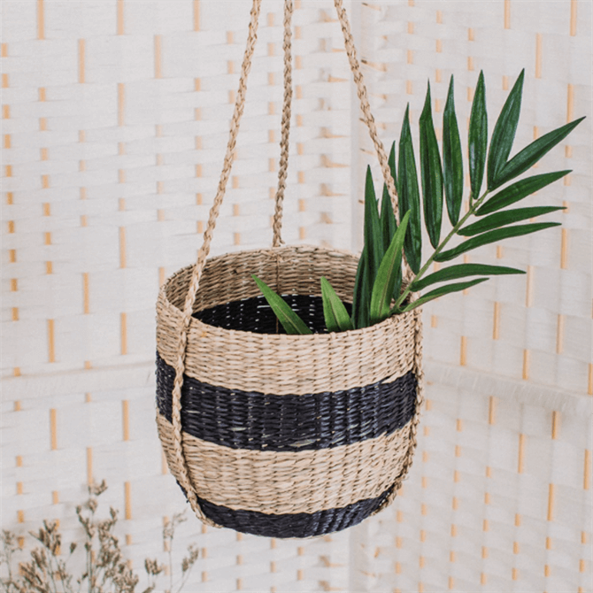 Sass & Belle Black Stripe Seagrass Hanging Planter