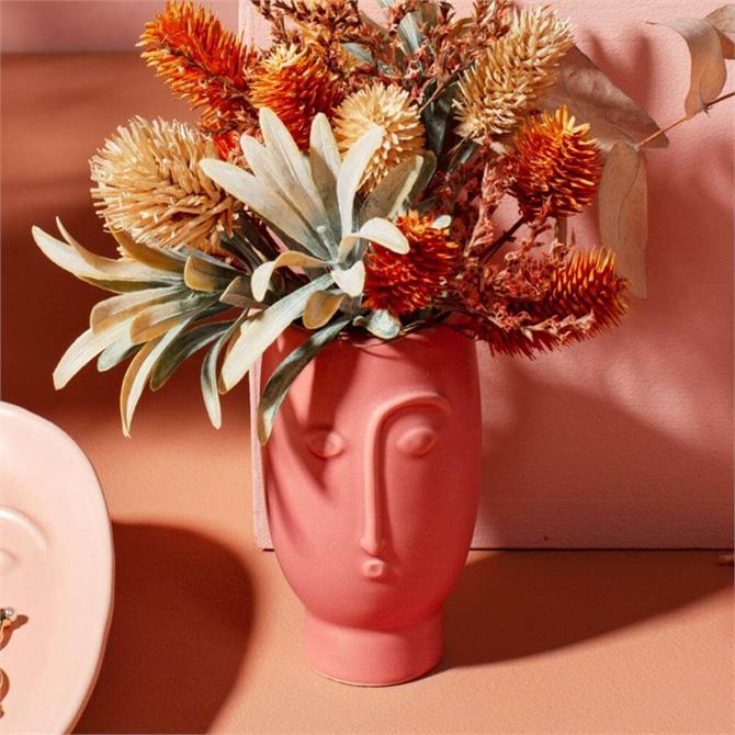 Sass & Belle Mini Face Vase Matt Red