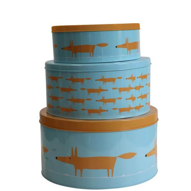 Scion Mr Fox Blue Set of 3 Cake Tins
