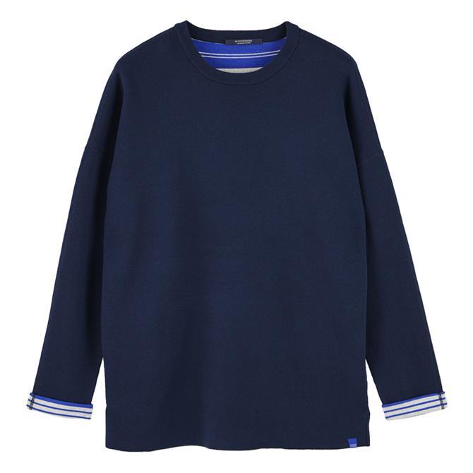 Scotch & Soda Reversible Cotton Blend Crew Neck Sweater
