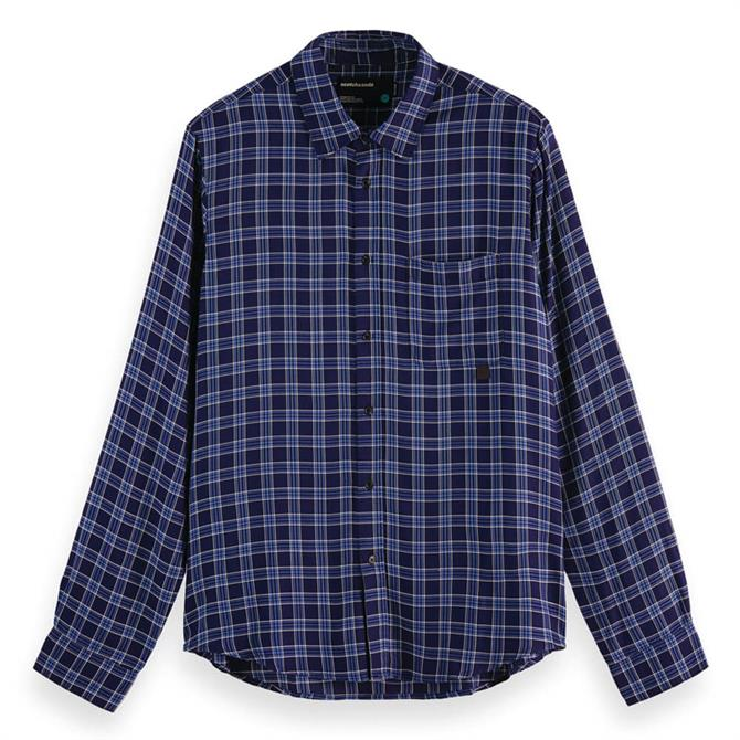 Scotch & Soda Checked Relaxed Fit Tencel Shirt