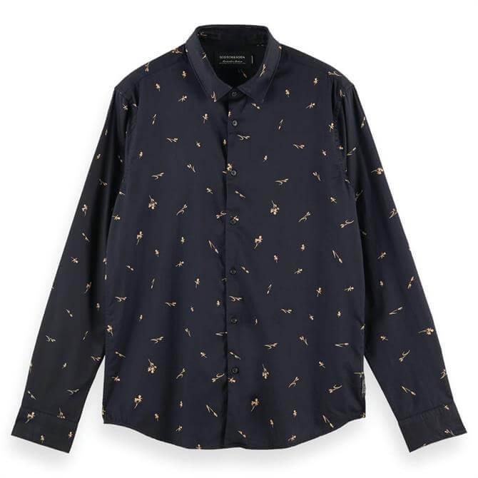 Scotch & Soda Regular Fit Print Navy Cotton Shirt