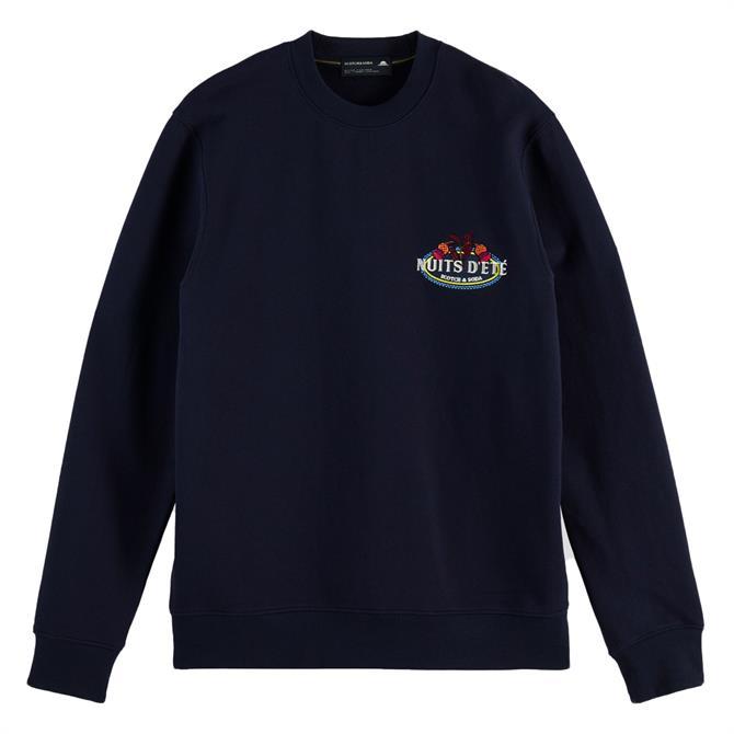 Scotch & Soda Embroidered Logo Organic Cotton Sweatshirt