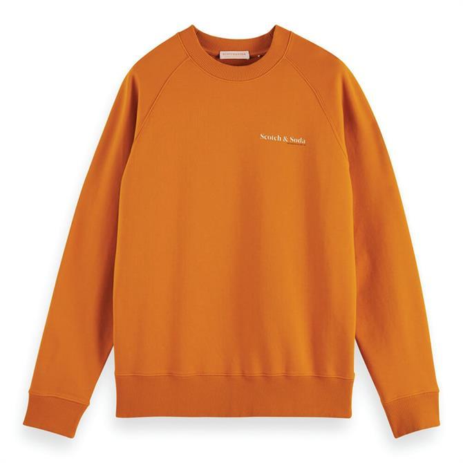 Scotch & Soda Orange Crew Neck Organic Cotton Sweatshirt
