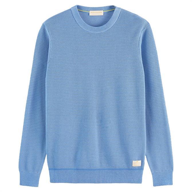 Scotch & Soda Blue Crew Neck Structured Knit Sweater