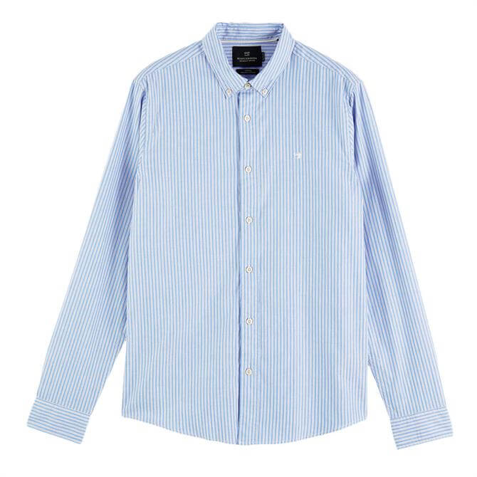 Scotch & Soda Striped Organic Cotton Oxford Shirt