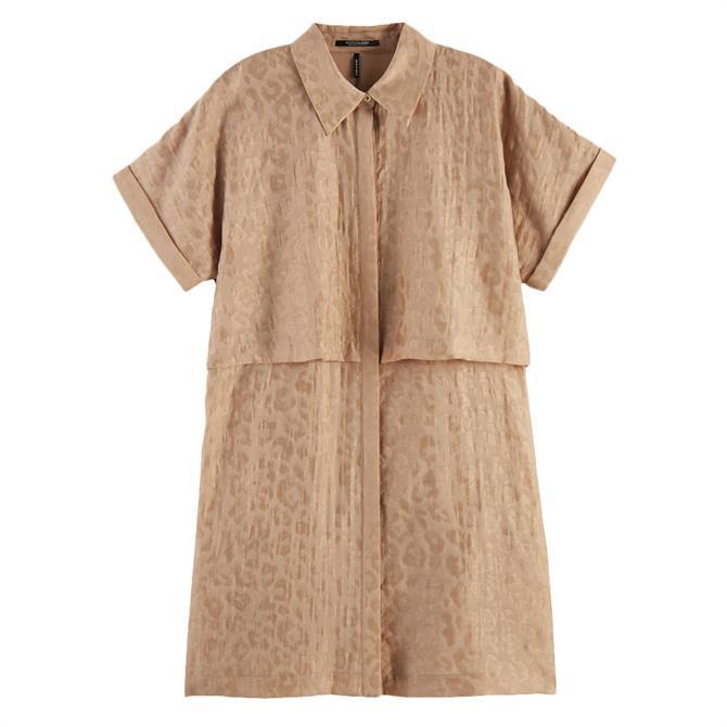 Scotch & Soda Animal Print Shirt Dress