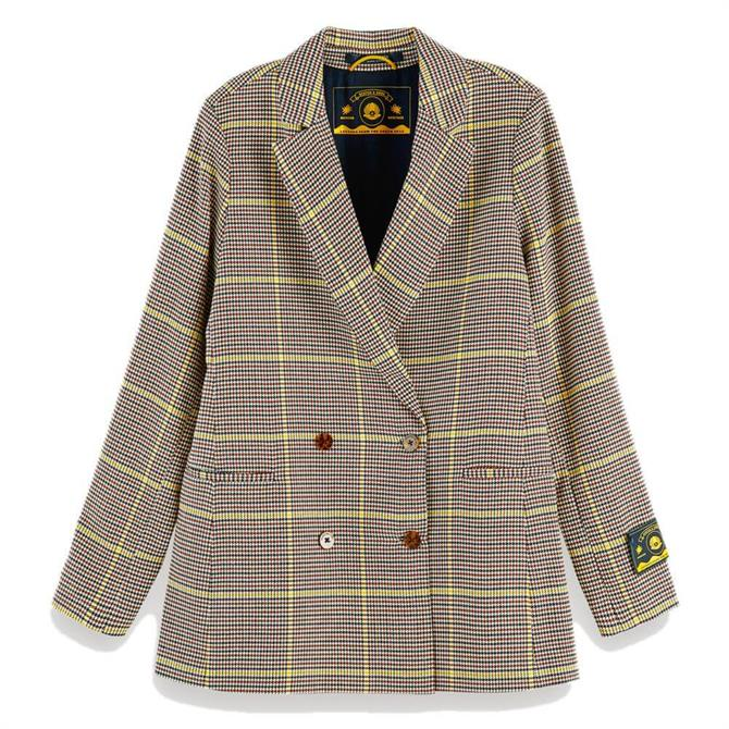 Scotch & Soda Checked Double-Breasted Long Blazer