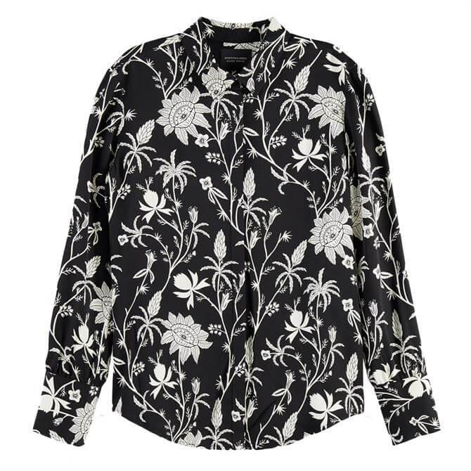 Scotch & Soda Button-Down Floral Print Shirt
