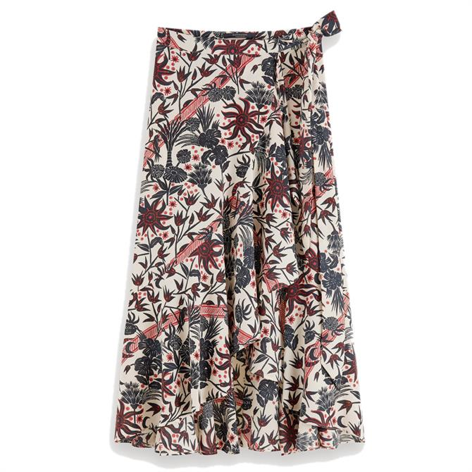 Scotch & Soda Floral Printed Wrap Midi Skirt