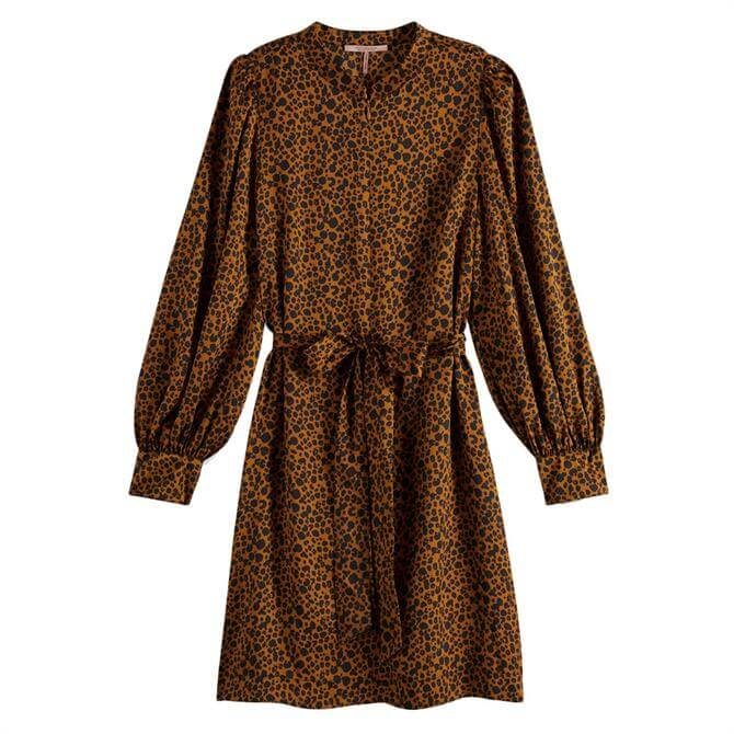 Scotch & Soda Leopard Print Belted Dress