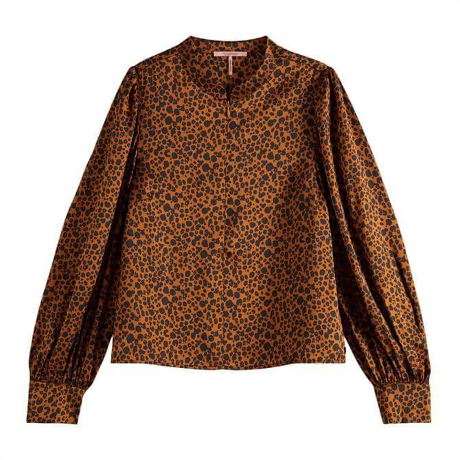 Scotch & Soda Leopard Print Puff Sleeved Top