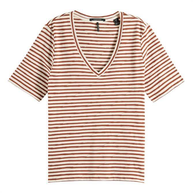 Scotch & Soda Striped Pointelle T-Shirt