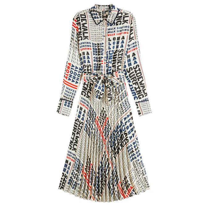 Scotch & Soda Text Print Pleated Midi Dress