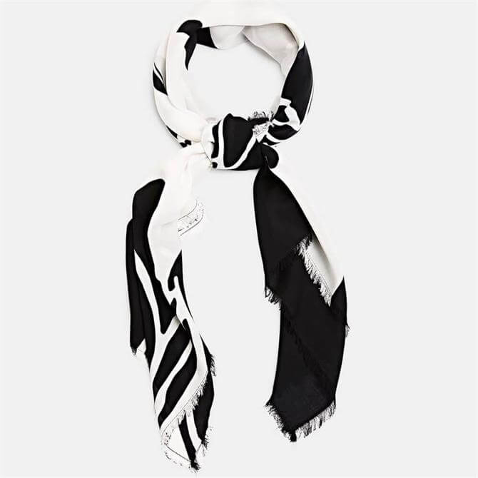 Esprit Black and White Large Floral Print Scarf