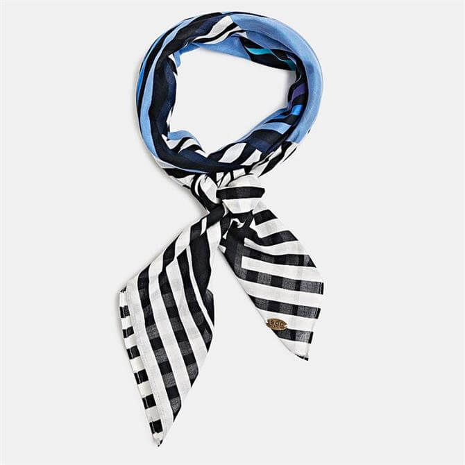 Esprit 100% Cotton Blue Black White Stripe Scarf