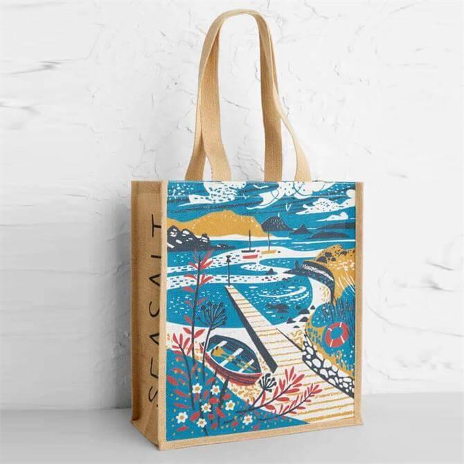Seasalt Jute Tean Sound Print Shopper Bag