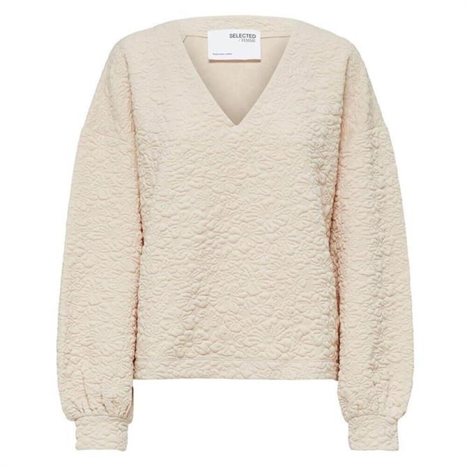 Selected Femme Gina Textured Volume Sleeve Sweatshirt