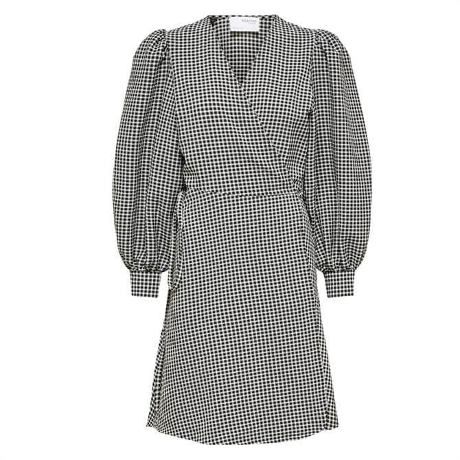 Selected Femme Charlie Checked Wrap Dress