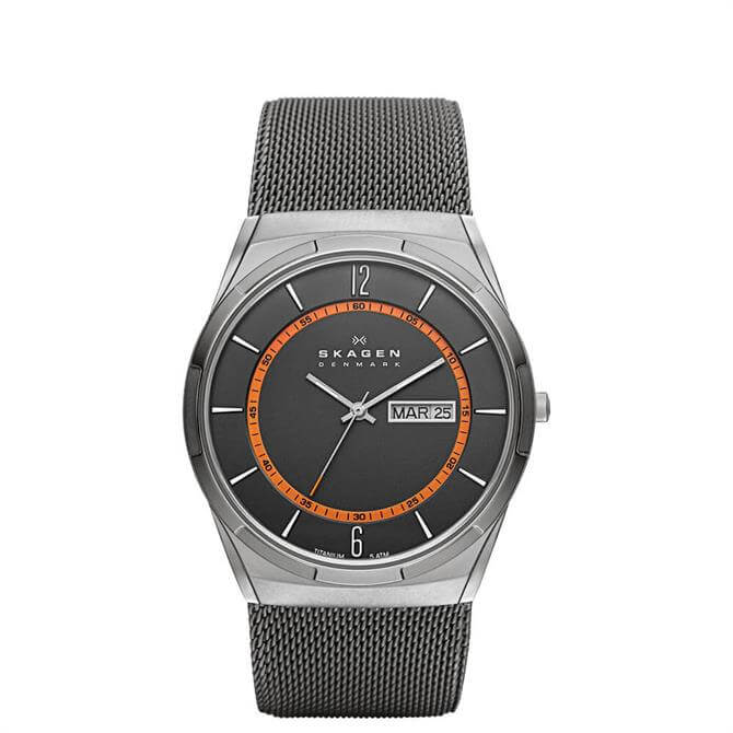 Skagen Melbye Titanium and Grey Steel-Mesh Day-Date Mens Watch