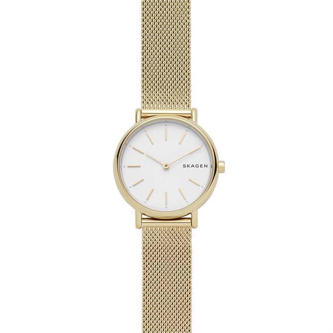 Skagen Signatur Slim Gold Tone Steel-Mesh Ladies Watch