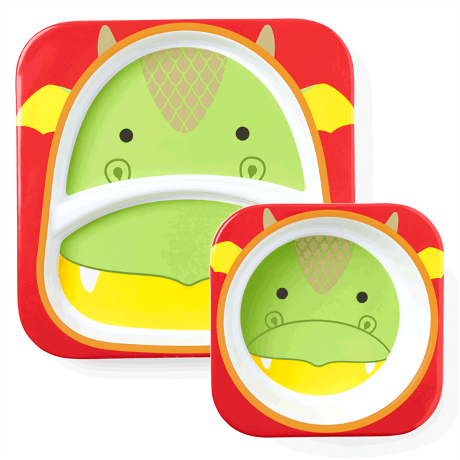 Skip Hop Zoo Dragon Melamine Plate & Bowl Set