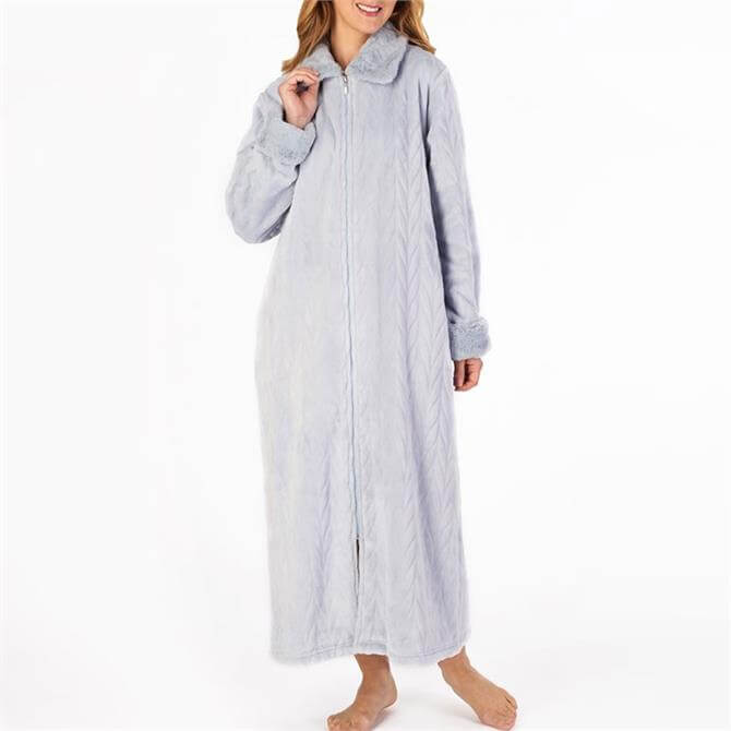 Slenderella Patterned Faux Fur Long Zipped Housecoat