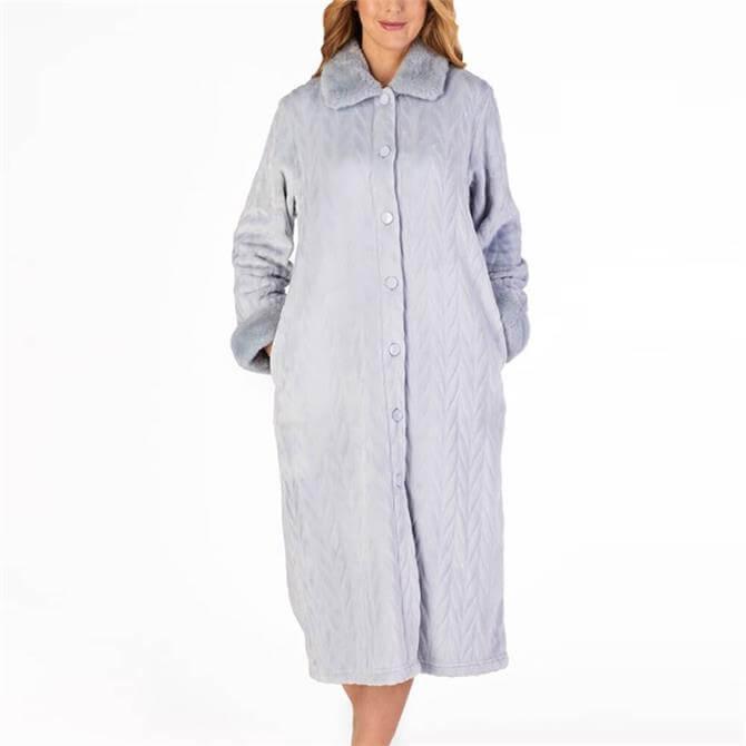 Slenderella Patterned Faux Fur Buttoned House Coat