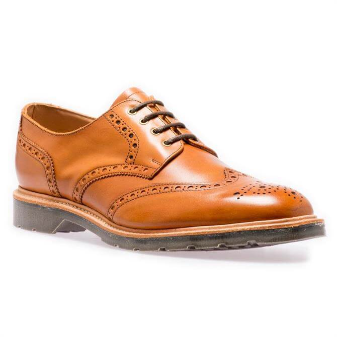 Solovair Acorn Brown 4-Eye Gibson Brogue Shoes