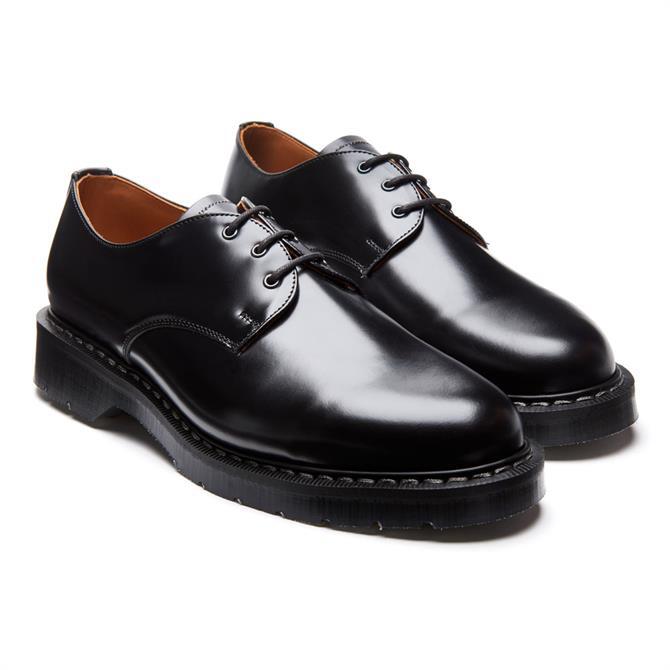 Solovair Black Hi-Shine Gibson Leather Shoes