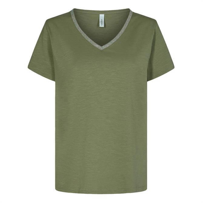 Soyaconcept Babette Embellished Neckline V-Neck T-Shirt