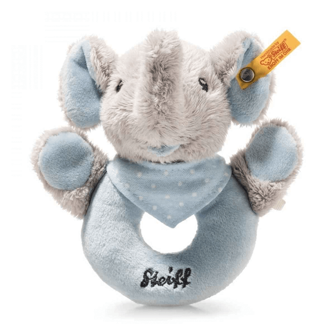 Steiff Blue Trampili Elephant Grip Toy with Rattle