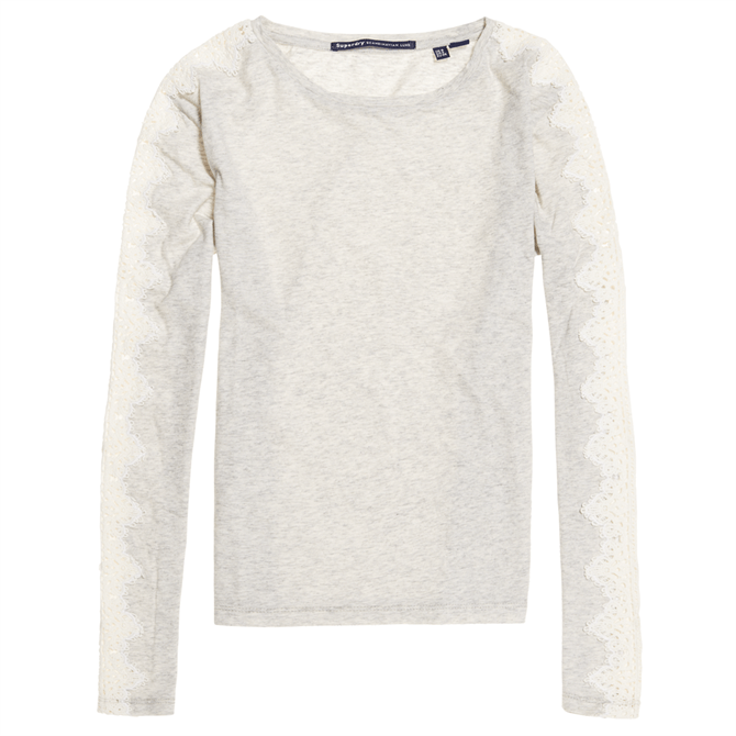 Superdry Lace Trim Long Sleeve Top