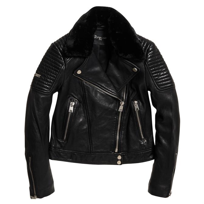 Superdry Premium Winter Leather Biker Jacket