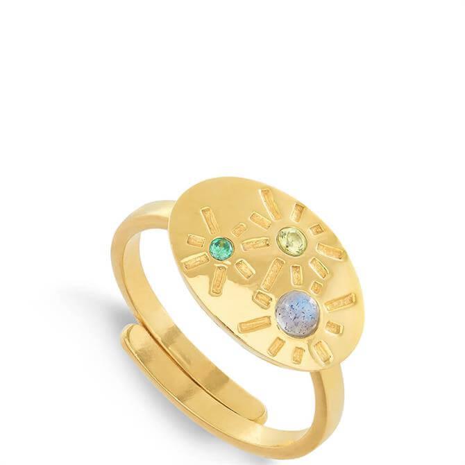 SVP Labradorite and Mixed Quartz Dynamite 18 Carat Gold Vermeil Adjustable Ring