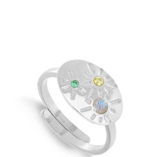 SVP Labradorite and Mixed Quartz Dynamite Sterling Silver Adjustable Ring