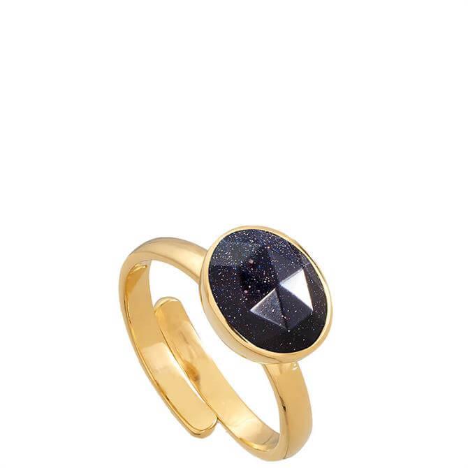 SVP Atomic Midi Blue Sunstone Gold Vermeil Adjustable Ring