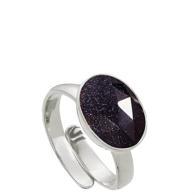 SVP Atomic Maxi Blue Sunstone Silver Adjustable Ring