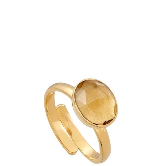 SVP Atomic Midi Champagne Quartz Gold Vermeil Adjustable Ring