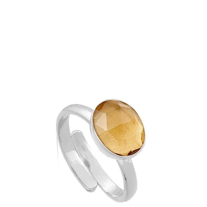 SVP Atomic Midi Champagne Quartz Silver Adjustable Ring