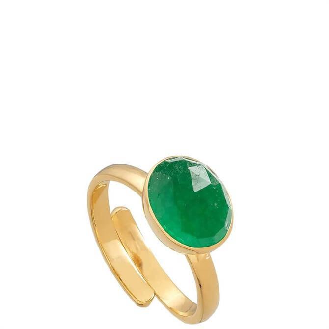 SVP Atomic Midi Emerald Quartz Gold Vermeil Adjustable Ring