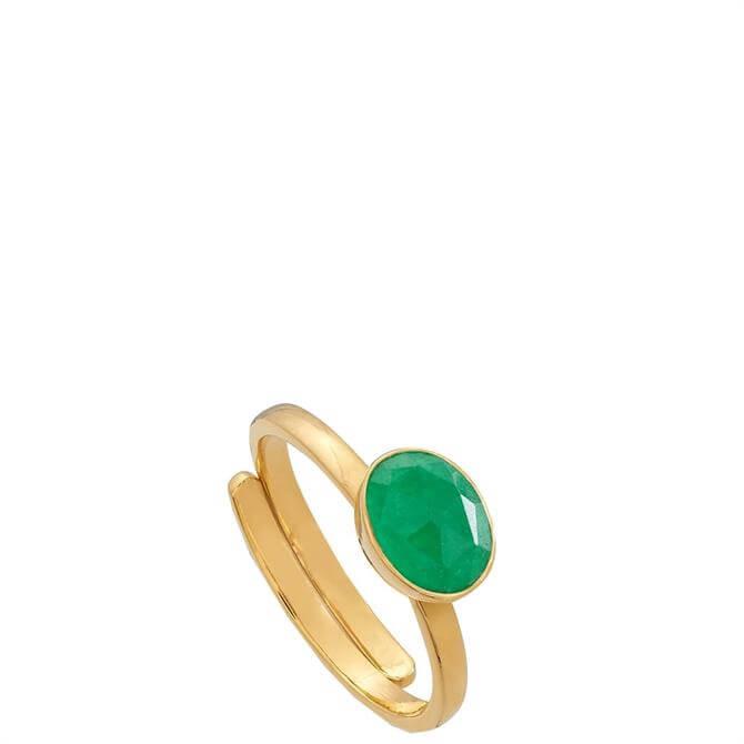 SVP Atomic Mini Emerald Quartz Gold Adjustable Ring