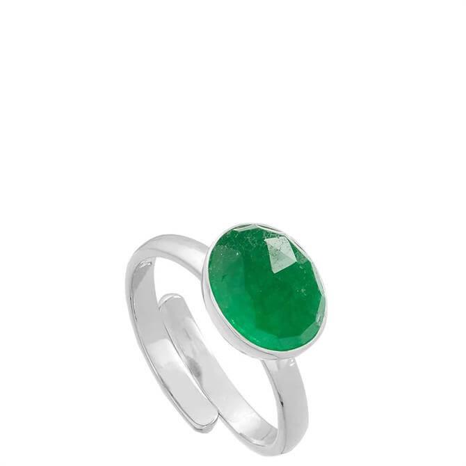 SVP Atomic Midi Emerald Quartz Silver Adjustable Ring