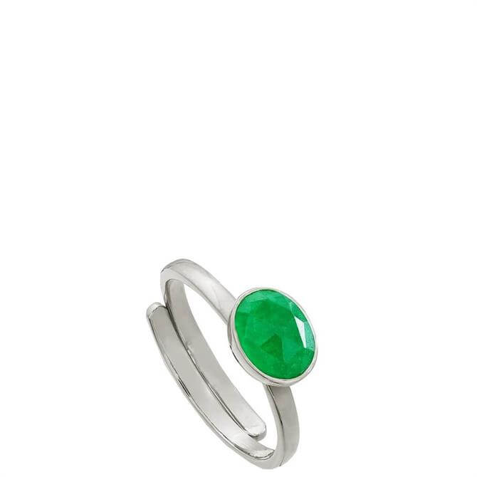 SVP Atomic Mini Emerald Quartz Silver Adjustable Ring