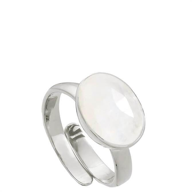 SVP Atomic Maxi Rainbow Moonstone Silver Adjustable Ring